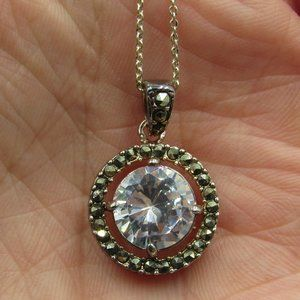 "24"" Sterling Rustic Cubic Zirconia Necklace"
